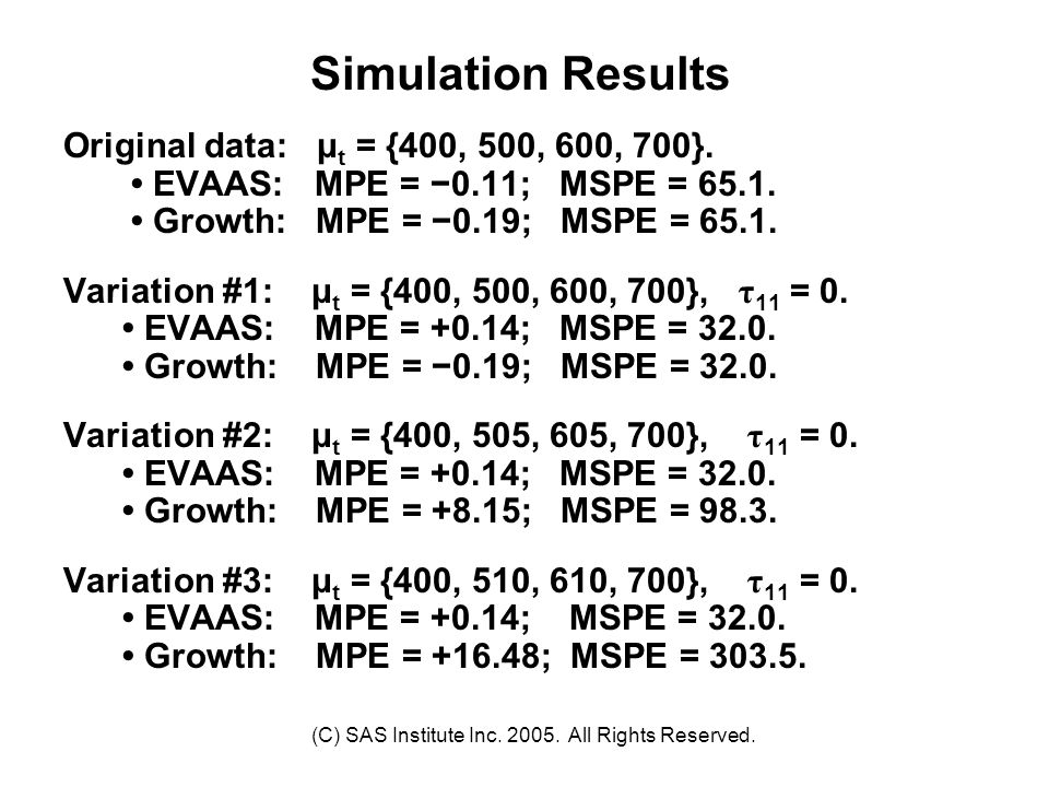 (C) SAS Institute Inc. 2005. All Rights Reserved. Simulation Results Original data: μ t = {400, 500, 600, 700}. EVAAS: MPE = −0.11; MSPE = 65.1. Growt