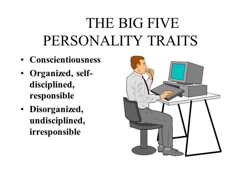 THE BIG FIVE PERSONALITY TRAITS Conscientiousness Organized, self- disciplined, responsible Disorganized, undisciplined, irresponsible