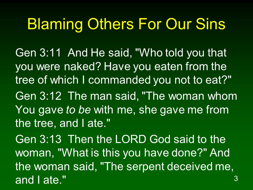 3 Blaming Others For Our Sins Gen 3:11 And He said, Who told you that you were naked.