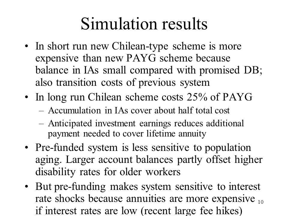 10 Simulation results In short run new Chilean-type scheme is more expensive than new PAYG scheme because balance in IAs small compared with promised