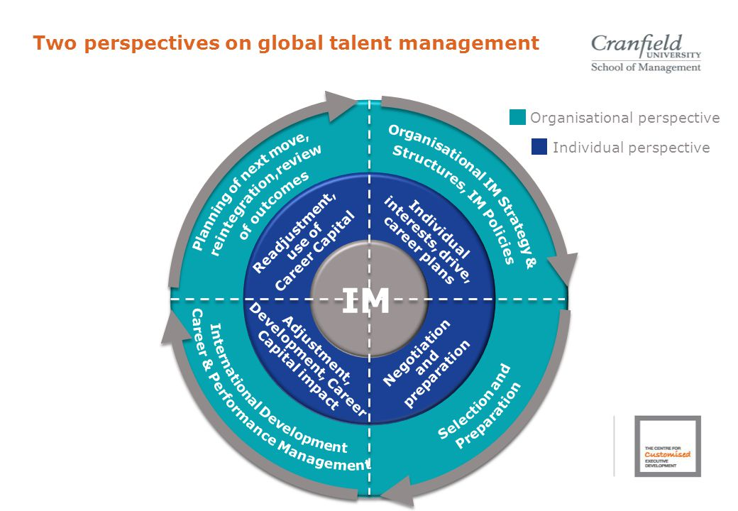 IM Readjustment, use of Career Capital Individual interests, drive, career plans Adjustment, Development, Career Capital impact Negotiation and preparation Organisational perspective Individual perspective Two perspectives on global talent management