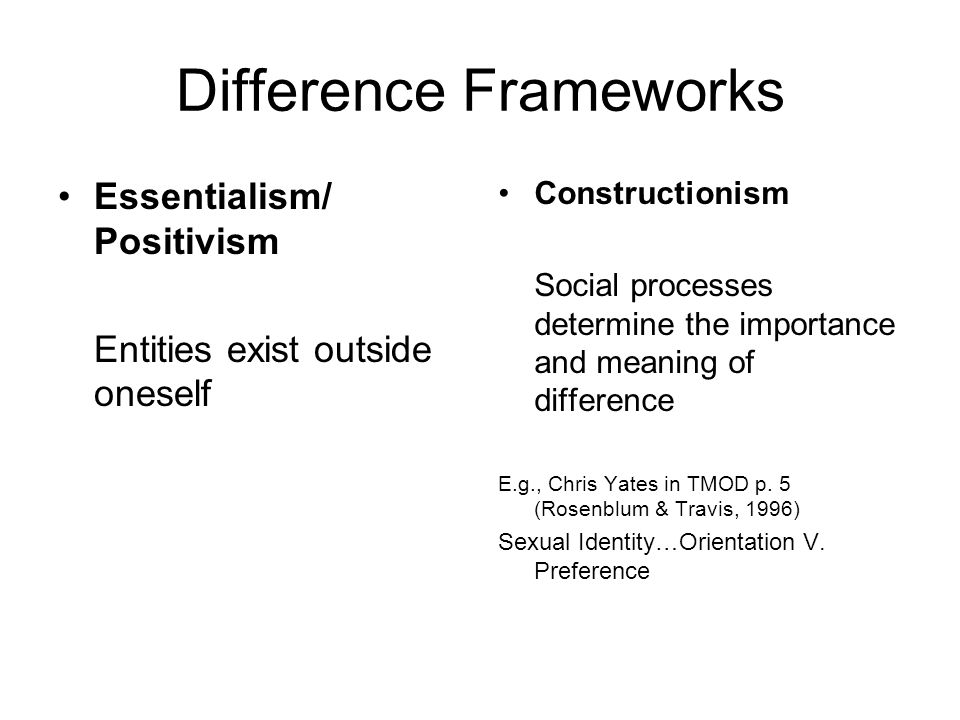 Difference Frameworks Essentialism/ Positivism Entities exist outside oneself Constructionism Social processes determine the importance and meaning of