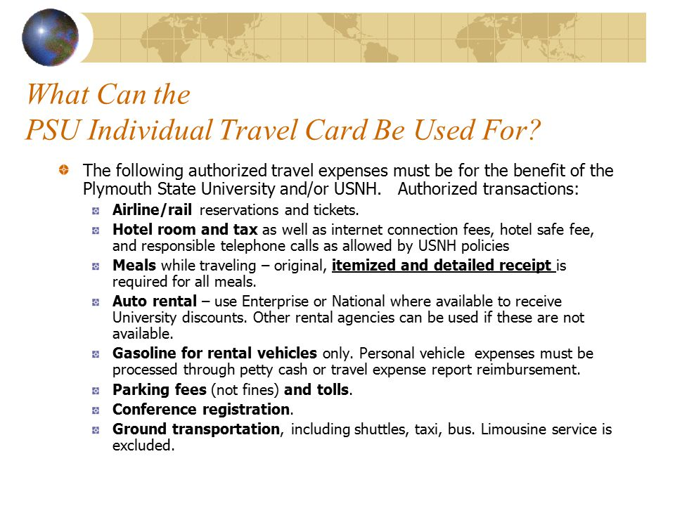 What Can the PSU Individual Travel Card Be Used For.