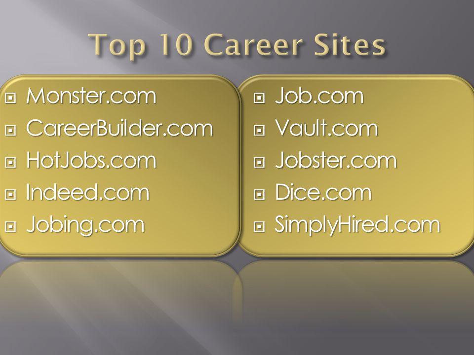  Monster.com  CareerBuilder.com  HotJobs.com  Indeed.com  Jobing.com  Job.com  Vault.com  Jobster.com  Dice.com  SimplyHired.com