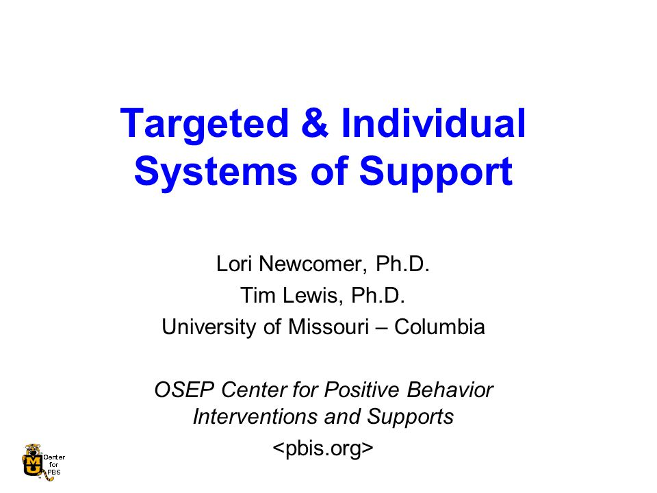 Targeted & Individual Systems of Support Lori Newcomer, Ph.D.