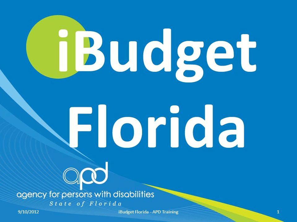 9/10/20121iBudget Florida - APD Training