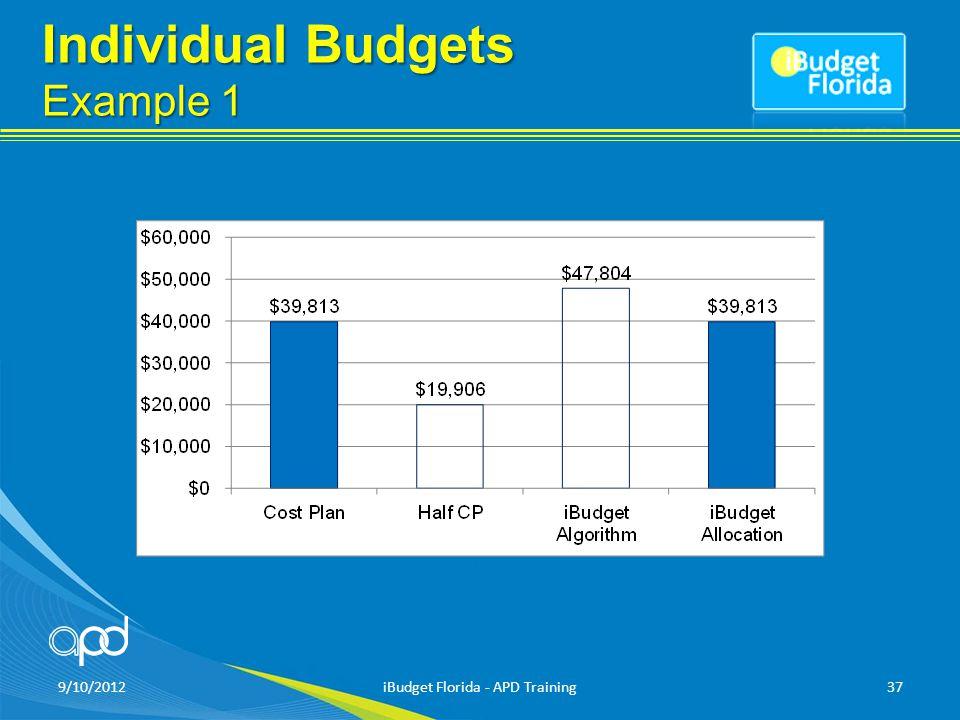 Individual Budgets Example 1 9/10/2012iBudget Florida - APD Training37