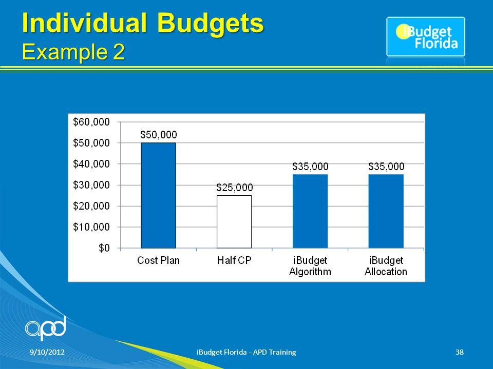 Individual Budgets Example 2 9/10/2012iBudget Florida - APD Training38