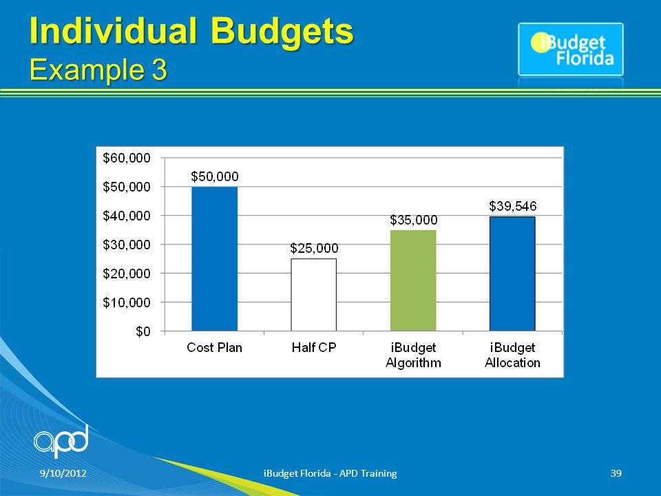 Individual Budgets Example 3 9/10/2012iBudget Florida - APD Training39