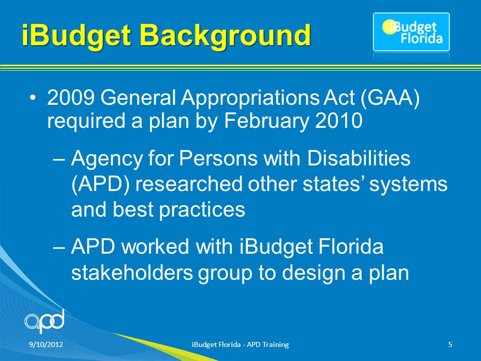 9/10/2012iBudget Florida - APD Training6 iBudget Background iBudget implementation was authorized in s.