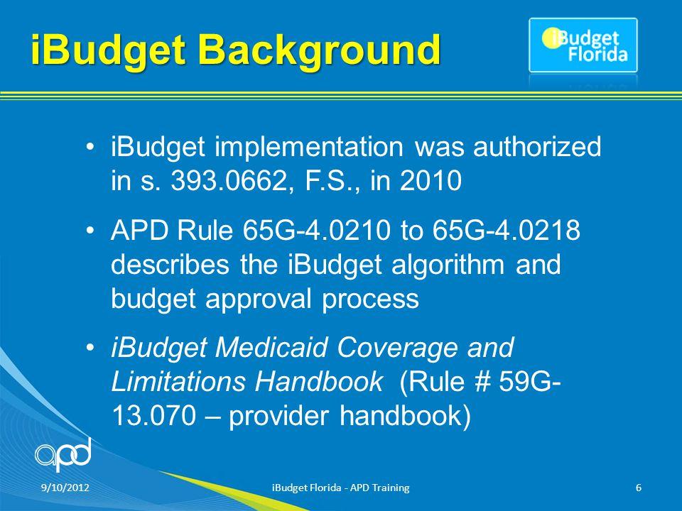 9/10/2012iBudget Florida - APD Training6 iBudget Background iBudget implementation was authorized in s.