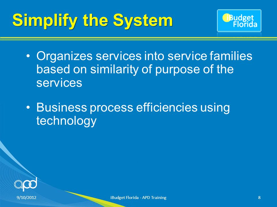 Simplify the System Organizes services into service families based on similarity of purpose of the services Business process efficiencies using technology 9/10/2012iBudget Florida - APD Training8