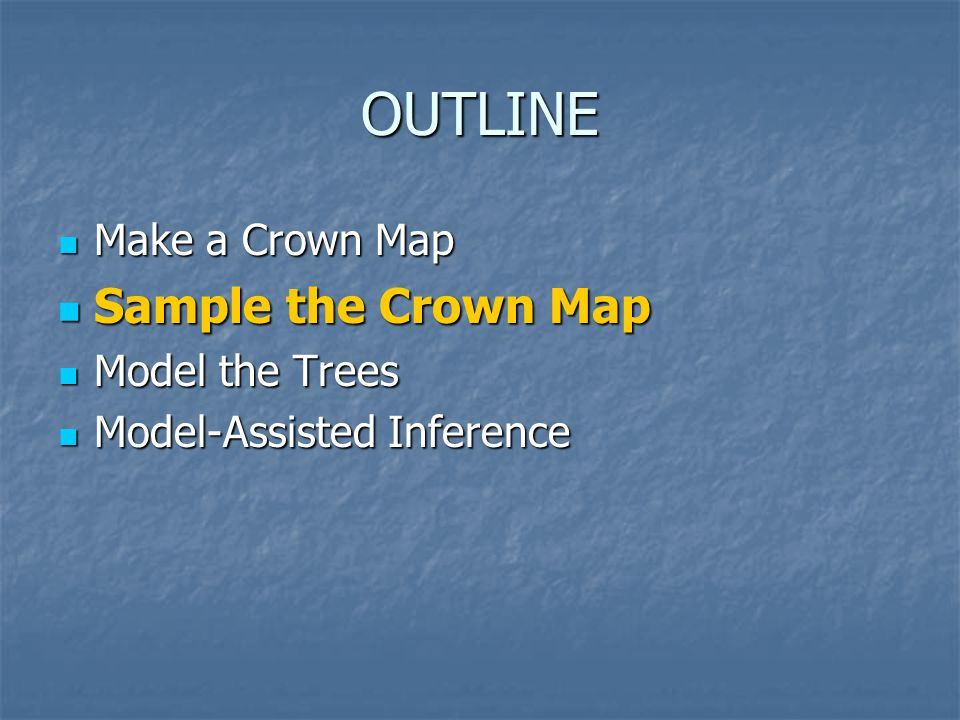 OUTLINE Make a Crown Map Make a Crown Map Sample the Crown Map Sample the Crown Map Model the Trees Model the Trees Model-Assisted Inference Model-Assisted Inference