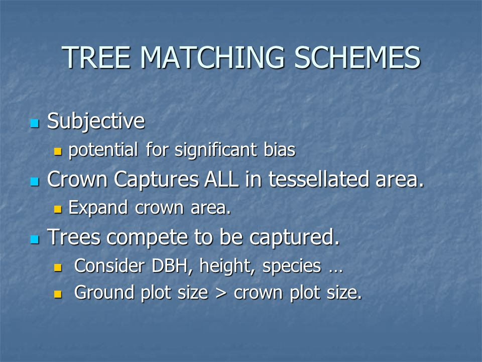 TREE MATCHING SCHEMES Subjective Subjective potential for significant bias potential for significant bias Crown Captures ALL in tessellated area.