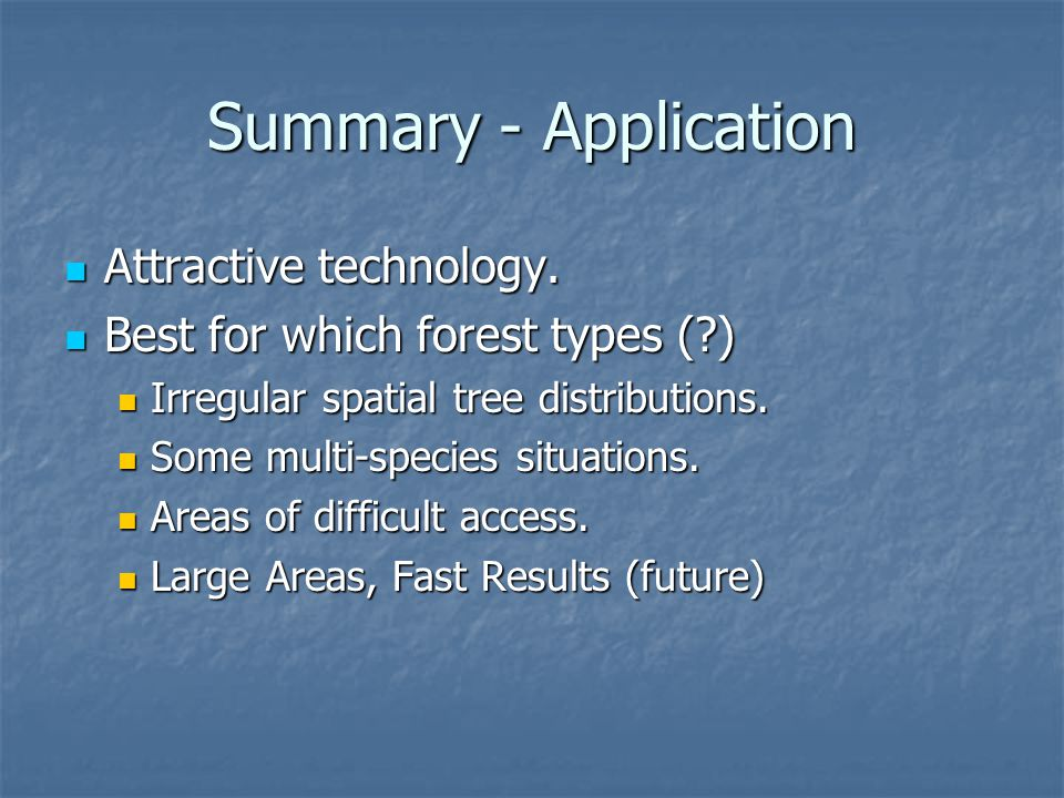 Summary - Application Attractive technology. Attractive technology.