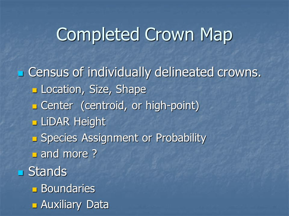 Completed Crown Map Census of individually delineated crowns.