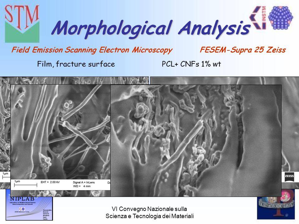 VI Convegno Nazionale sulla Scienza e Tecnologia dei Materiali Morphological Analysis Field Emission Scanning Electron Microscopy FESEM-Supra 25 Zeiss Film, fracture surfacePCL+ CNFs 1% wt