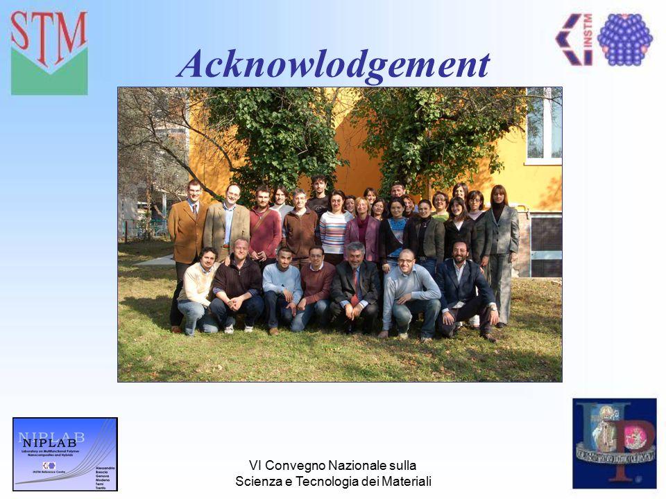 VI Convegno Nazionale sulla Scienza e Tecnologia dei Materiali Acknowlodgement