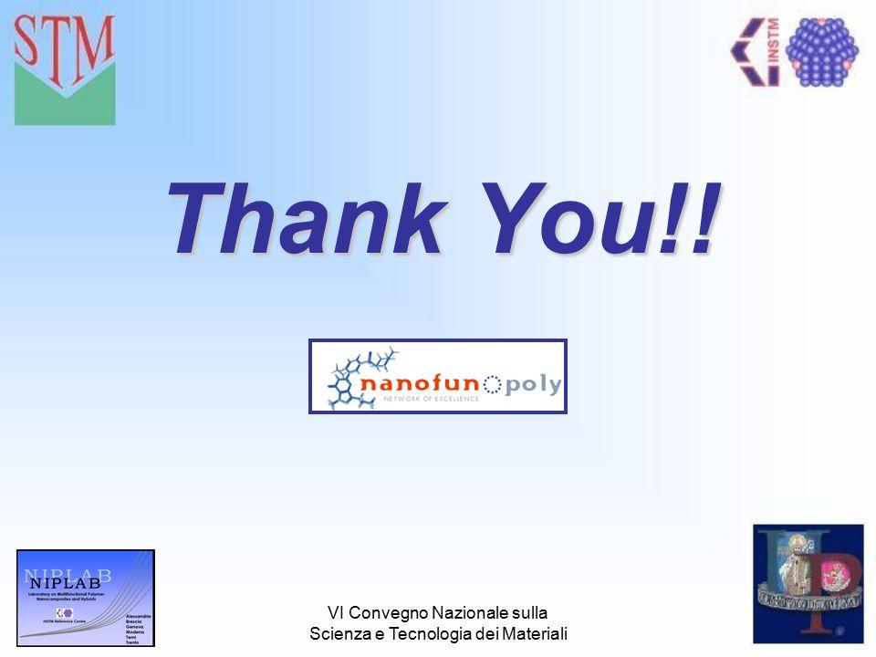 VI Convegno Nazionale sulla Scienza e Tecnologia dei Materiali Thank You!!