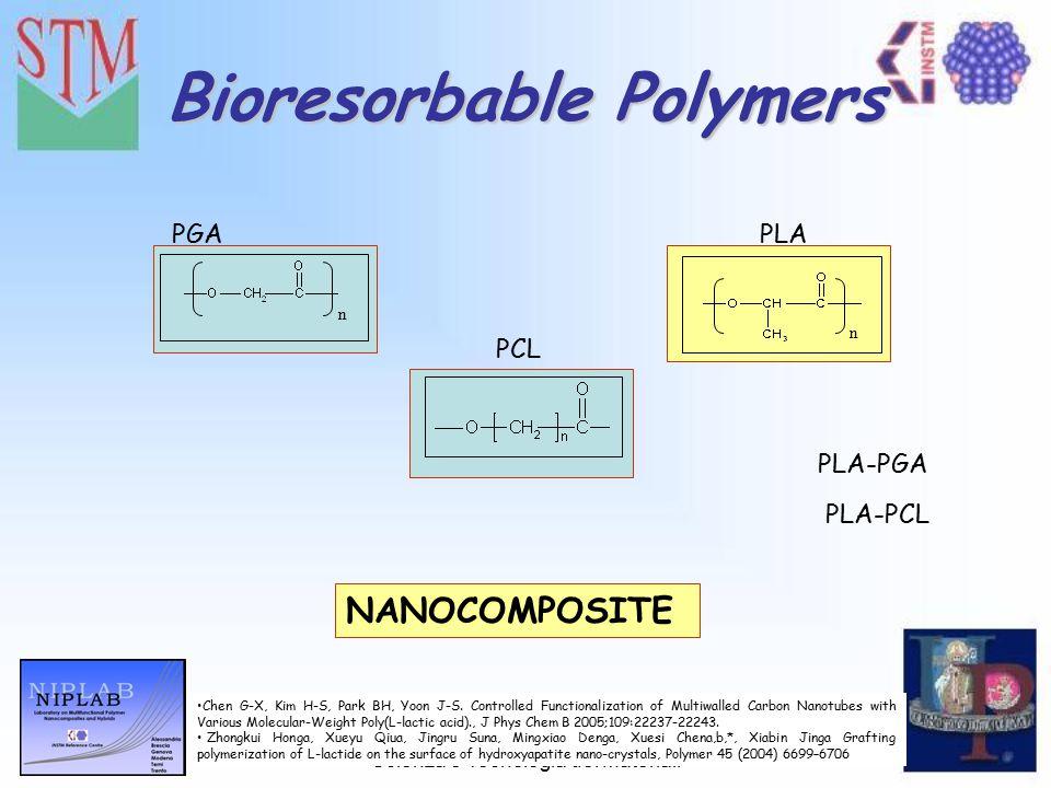 VI Convegno Nazionale sulla Scienza e Tecnologia dei Materiali Bioresorbable Polymers NANOCOMPOSITE n PGA n PLA PCL PLA-PGA PLA-PCL Chen G-X, Kim H-S, Park BH, Yoon J-S.