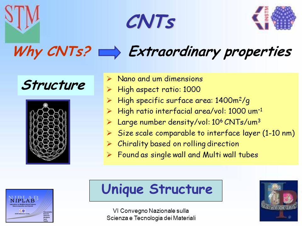 VI Convegno Nazionale sulla Scienza e Tecnologia dei Materiali CNTs Why CNTs?Extraordinary properties Structure  Nano and um dimensions  High aspect