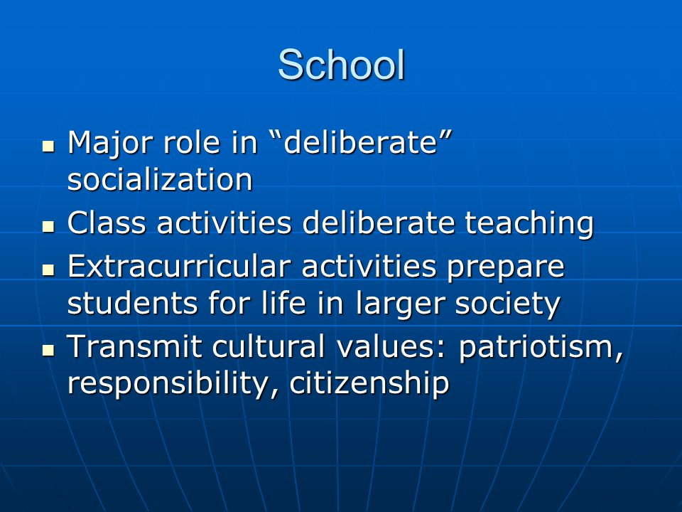 School Major role in deliberate socialization Major role in deliberate socialization Class activities deliberate teaching Class activities deliberate teaching Extracurricular activities prepare students for life in larger society Extracurricular activities prepare students for life in larger society Transmit cultural values: patriotism, responsibility, citizenship Transmit cultural values: patriotism, responsibility, citizenship