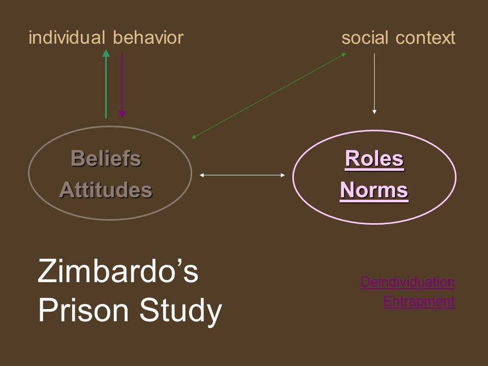 individual behavior RolesNorms social context BeliefsAttitudes Deindividuation Entrapment Zimbardo's Prison Study