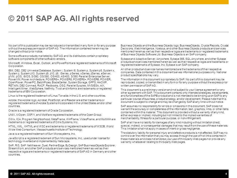 ©2011 SAP AG. All rights reserved.4 No part of this publication may be reproduced or transmitted in any form or for any purpose without the express pe