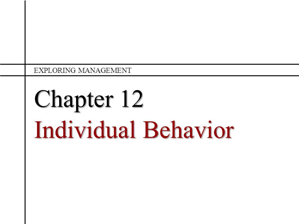 Chapter 12 Individual Behavior EXPLORING MANAGEMENT