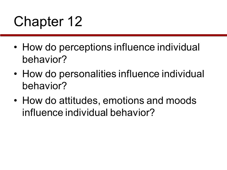 Chapter 12 How do perceptions influence individual behavior? How do personalities influence individual behavior? How do attitudes, emotions and moods