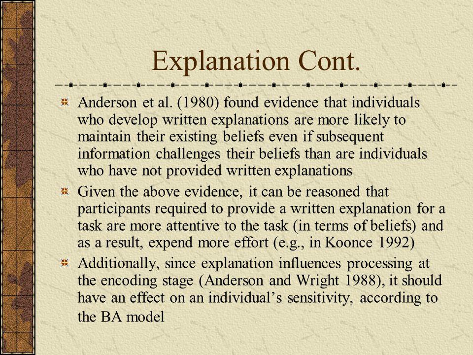 Explanation Cont. Anderson et al.