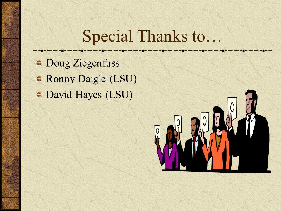 Special Thanks to… Doug Ziegenfuss Ronny Daigle (LSU) David Hayes (LSU)