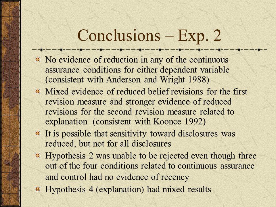 Conclusions – Exp.