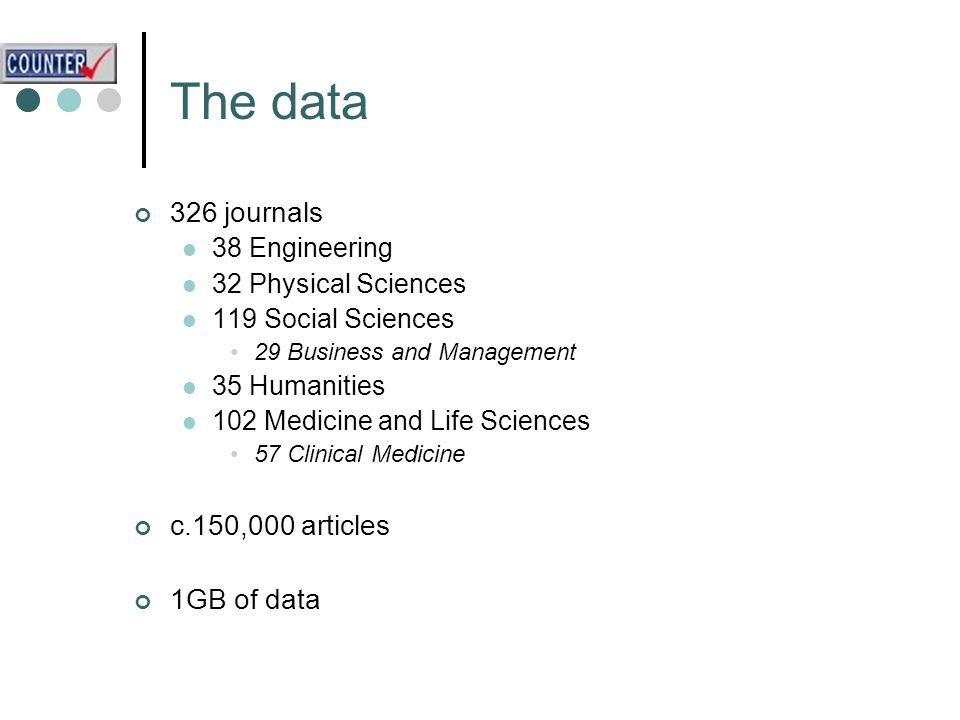 The data 326 journals 38 Engineering 32 Physical Sciences 119 Social Sciences 29 Business and Management 35 Humanities 102 Medicine and Life Sciences 57 Clinical Medicine c.150,000 articles 1GB of data