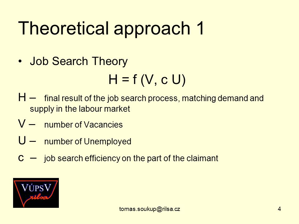 tomas.soukup@rilsa.cz4 Theoretical approach 1 Job Search Theory H = f (V, c U) H – final result of the job search process, matching demand and supply in the labour market V – number of Vacancies U – number of Unemployed c – job search efficiency on the part of the claimant
