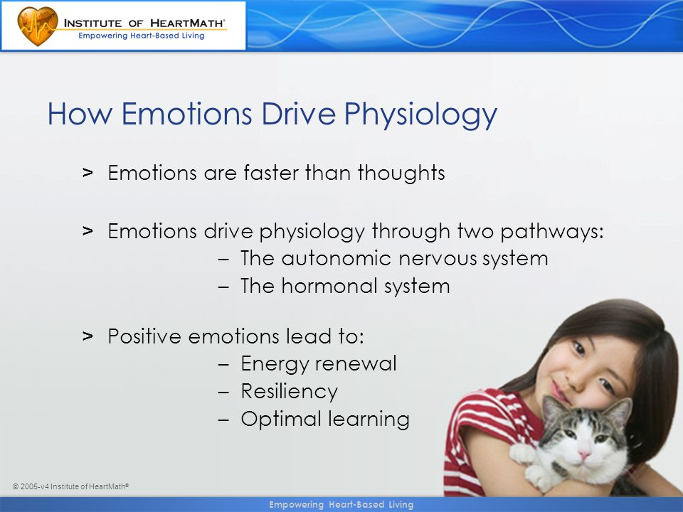 © 2005-v4 Institute of HeartMath ® >Emotions are faster than thoughts >Emotions drive physiology through two pathways: – The autonomic nervous system – The hormonal system >Positive emotions lead to: – Energy renewal – Resiliency – Optimal learning How Emotions Drive Physiology Empowering Heart-Based Living