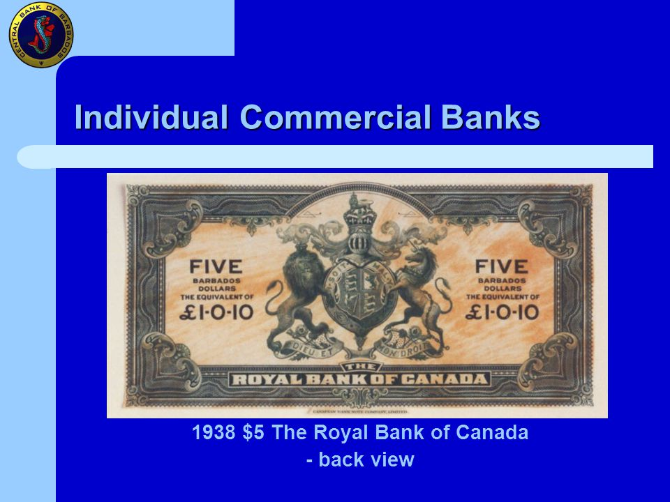Individual Commercial Banks 1938 $5 The Royal Bank of Canada - back view