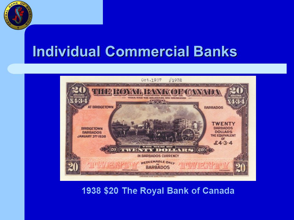 Individual Commercial Banks 1938 $20 The Royal Bank of Canada