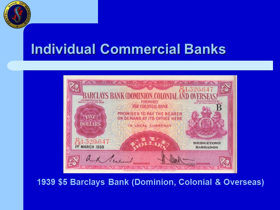 Individual Commercial Banks 1939 $5 Barclays Bank (Dominion, Colonial & Overseas)