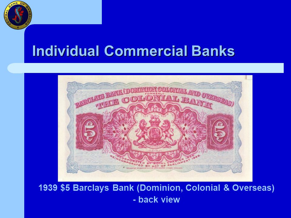 Individual Commercial Banks 1939 $5 Barclays Bank (Dominion, Colonial & Overseas) - back view