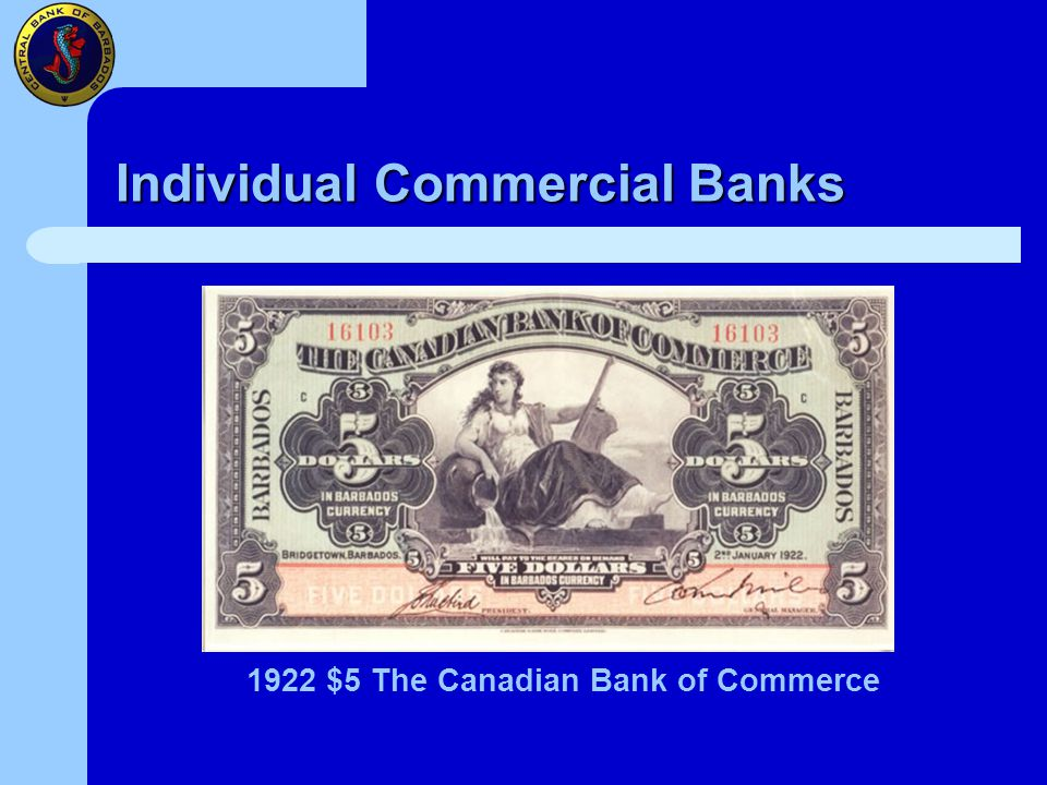 Individual Commercial Banks 1922 $5 The Canadian Bank of Commerce