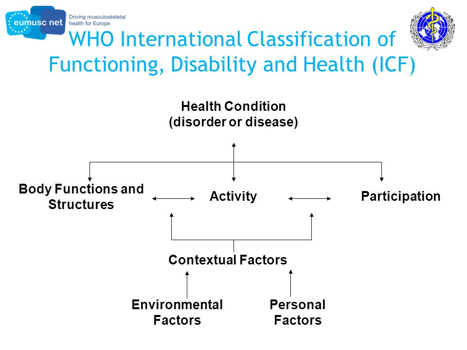 WHO International Classification of Functioning, Disability and Health (ICF) Health Condition (disorder or disease) Body Functions and Structures ActivityParticipation Environmental Factors Personal Factors Contextual Factors