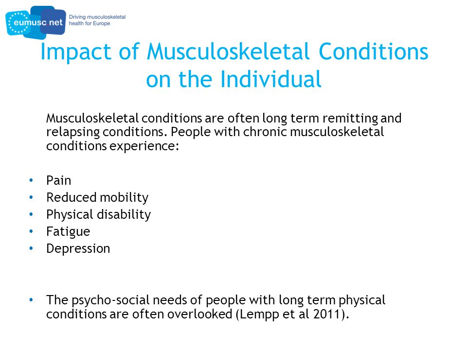 Impact of MSC on functional disability Loza et al (2008) studied the effects of individual diseases on functional disability (measured by the HAQ) weighted by disease prevalence.