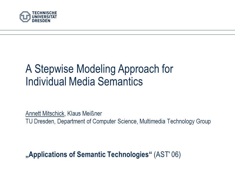 A Stepwise Modeling Approach for Individual Media Semantics Annett Mitschick, Klaus Meißner TU Dresden, Department of Computer Science, Multimedia Tec