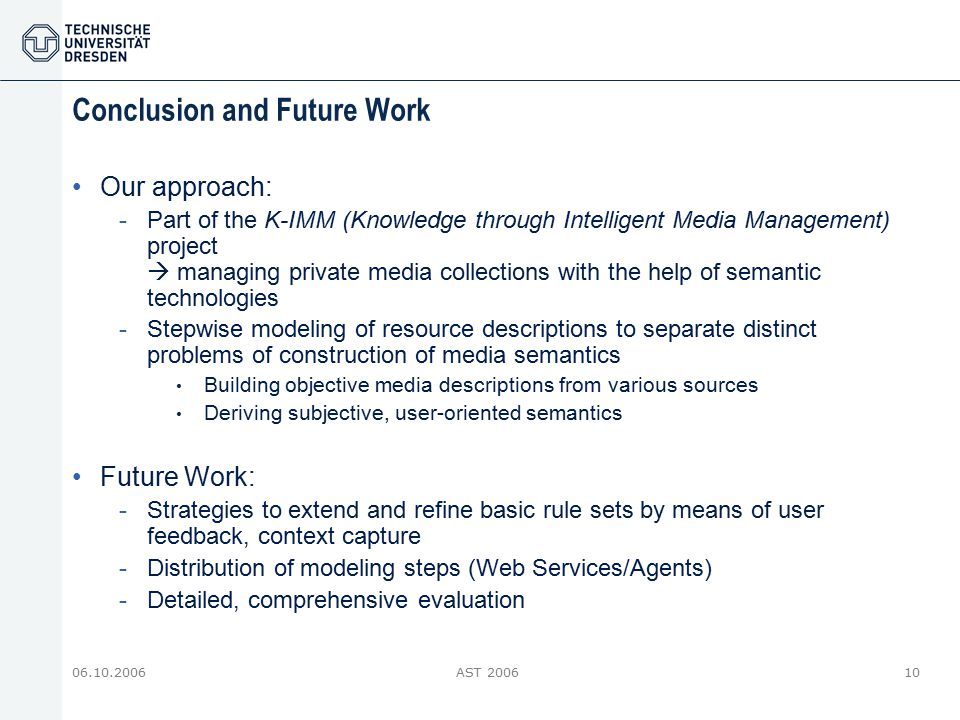 06.10.2006AST 200610 Conclusion and Future Work Our approach: -Part of the K-IMM (Knowledge through Intelligent Media Management) project  managing p