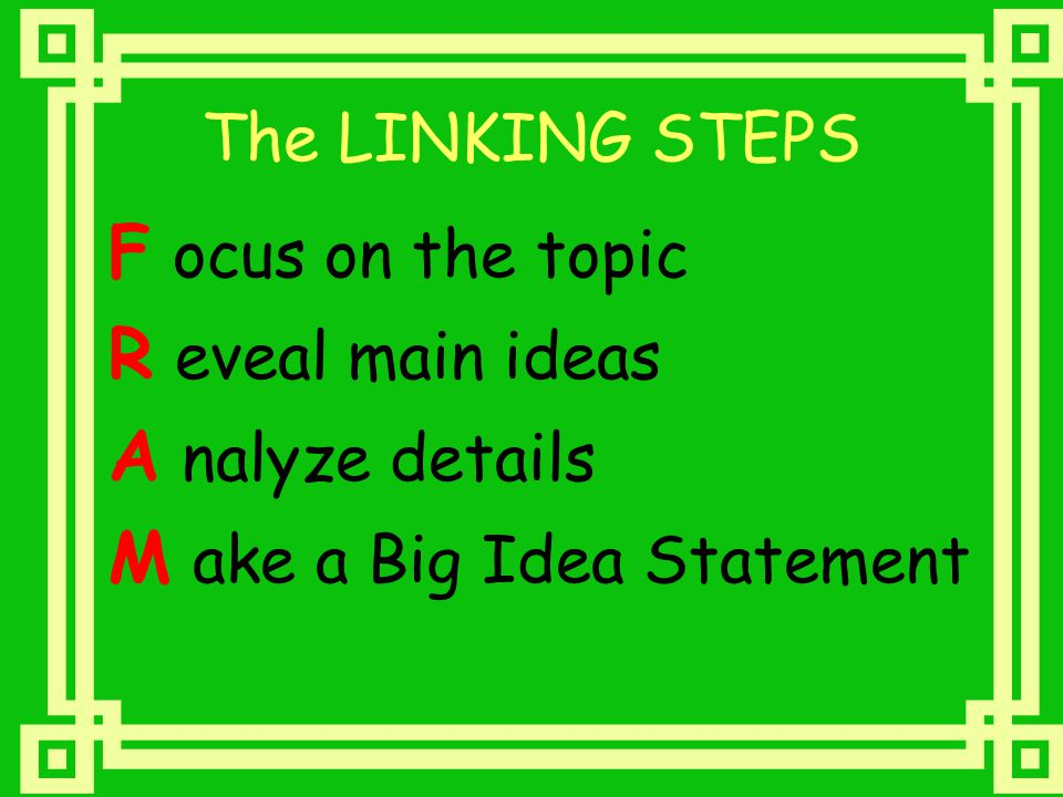 The LINKING STEPS F ocus on the topic R eveal main ideas A nalyze details M ake a Big Idea Statement