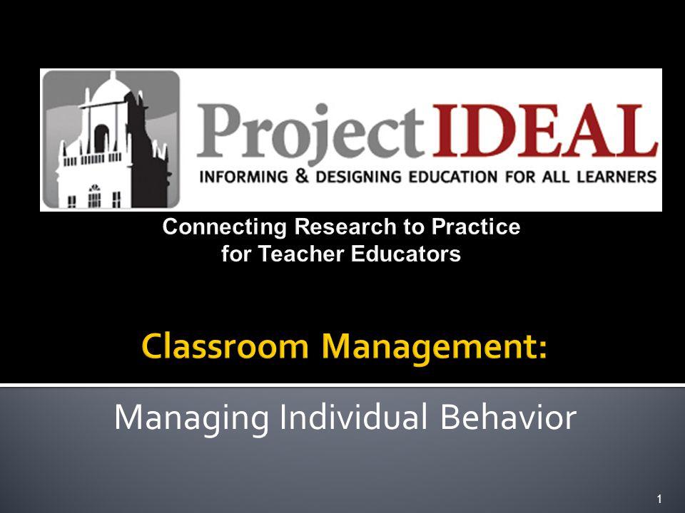 Managing Individual Behavior 1