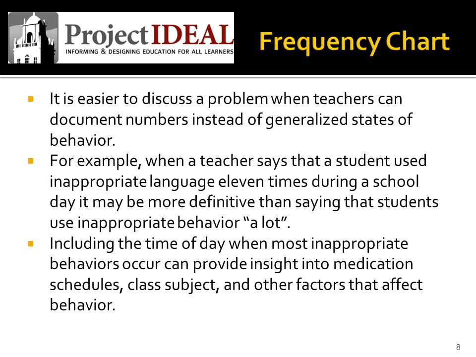  It is easier to discuss a problem when teachers can document numbers instead of generalized states of behavior.