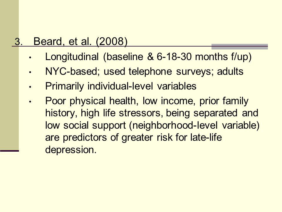 3. Beard, et al. (2008) Longitudinal (baseline & 6-18-30 months f/up) NYC-based; used telephone surveys; adults Primarily individual-level variables P