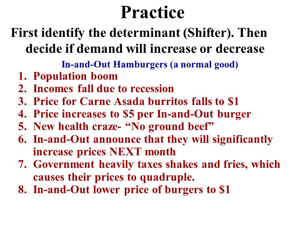 Income 2. Inferior Goods –As income increases, demand falls –As income falls, demand increases –Ex: Top Romen, used cars, used cloths, 1.Normal Goods